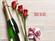 Personalizare felicitari cu text de la multi ani Sampanie cu flori