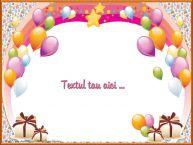Personalizare felicitari cu text de zi de nastere Frame cu baloane