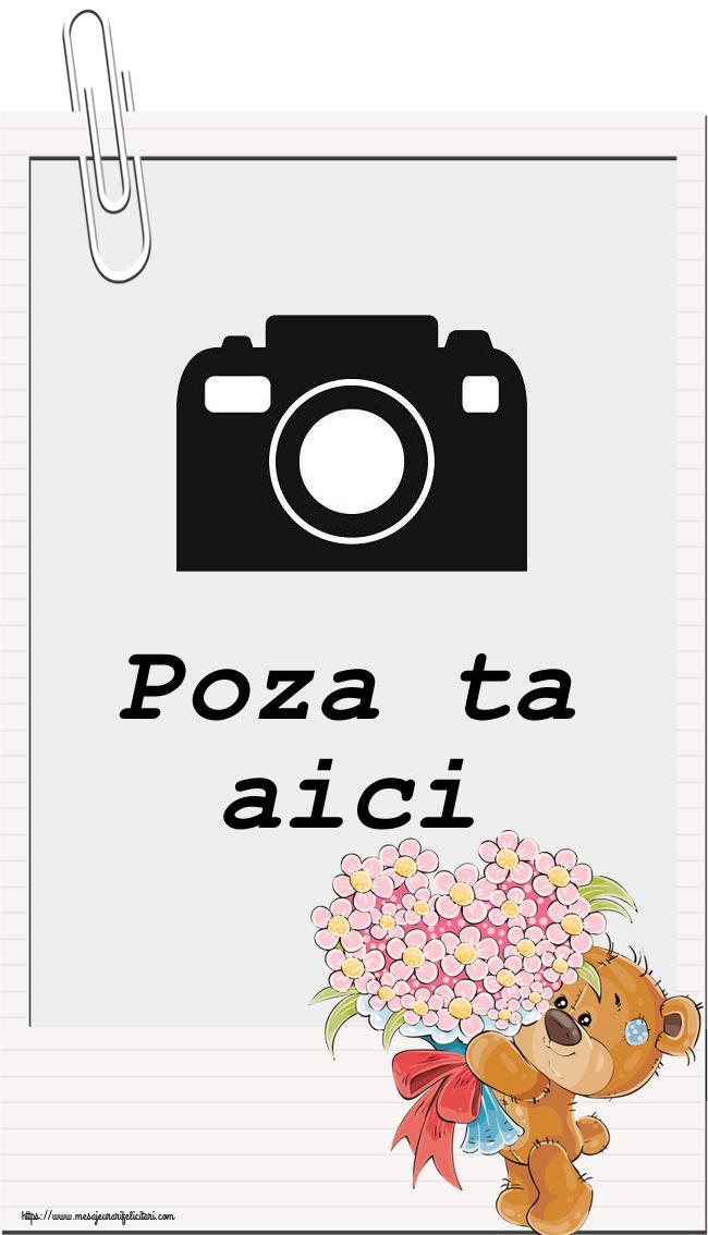 Personalizare felicitari  | Rama foto - Ursulet cu buchet de flori