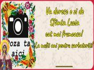 Personalizare felicitari de Sfânta Lucia | Va doresc o zi de Sfânta Lucia cat mai frumoasa! La multi ani pentru sarbatoriti! ...!