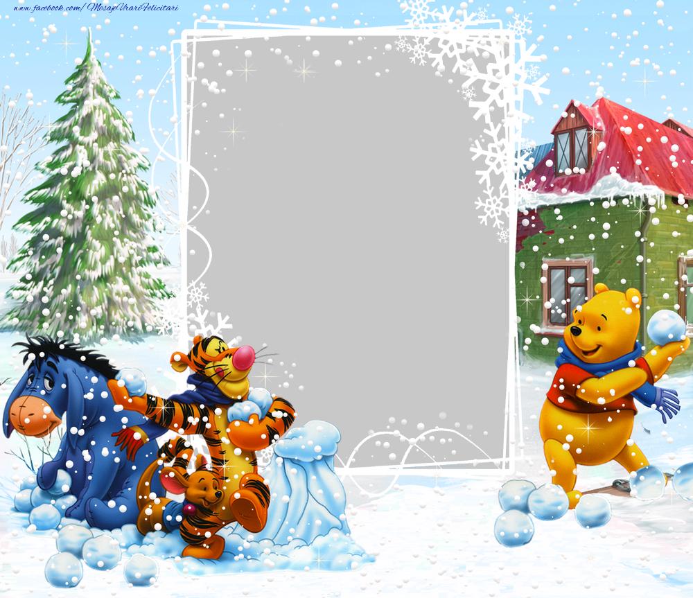 Personalizare felicitari pentru copii | Rama foto de iarna