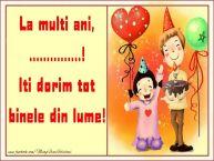 Personalizare felicitari pentru copii | La multi ani, Iti dorim tot binele din lume! ...