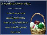 Personalizare felicitari de Pasti | Cu ocazia Sfintelor Sarbatori de Paste, ... va doreste sa aveti parte numai de ganduri senine, bucurie in suflet simulta fericire alaturi de familie si prieteni. Paste Fericit!