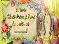 Personalizare felicitari de Sfintii Petru si Pavel | 29 iunie Sfintii Petru și Pavel La multi ani, ...!